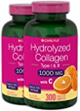 Hydrolyzed Collagen 1000 mg 600 Caplets – Type 1 and 3 – Grass Fed, Non-GMO, Gluten Free Supplement – Peptides Advanced with Vitamin C Pills by Carlyle