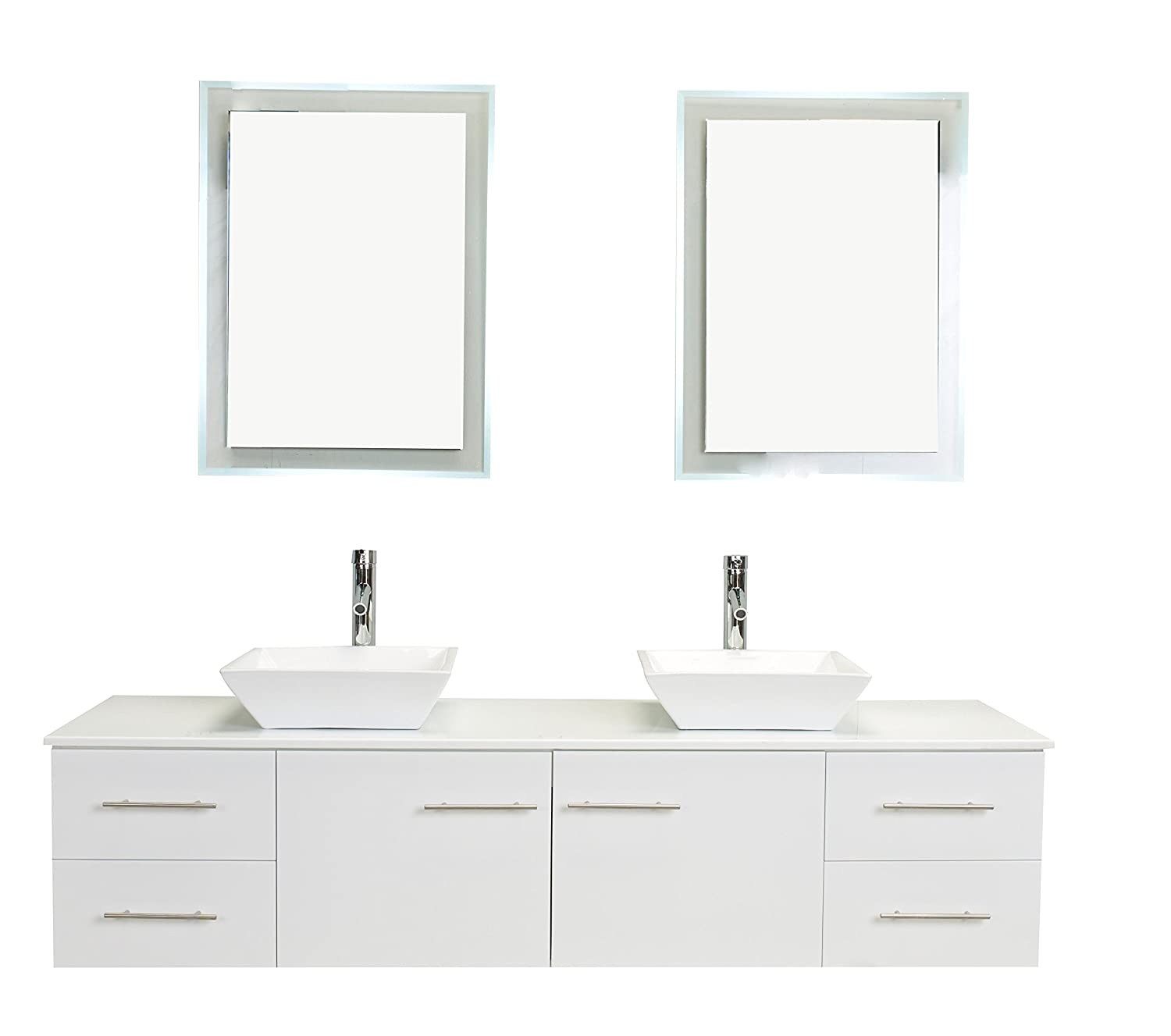Eviva Evvn147 72wh Totti Wave Modern Double Sink Bathroom Vanity
