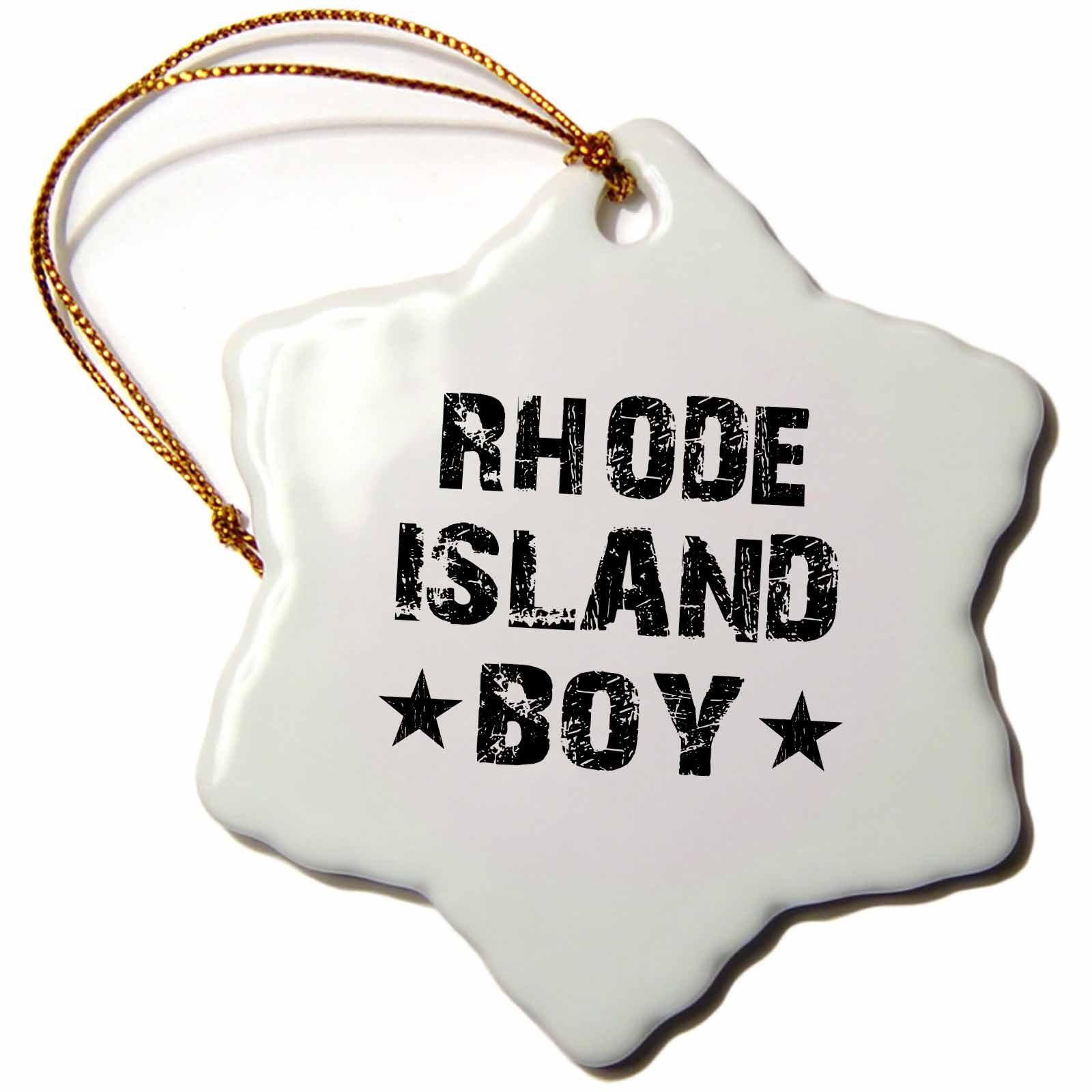 3dRose ORN_161600_1 Rhode Island Boy Home State Pride USA United States of America Black and White Text Stars- Snowflake Ornament, Porcelain, 3-Inch