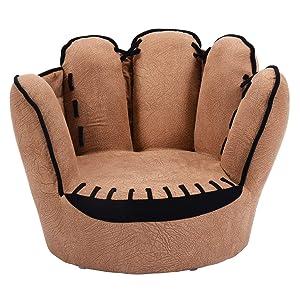 HONEY JOY Kids Sofa Chair, Baseball Glove Shaped Fingers Style Toddler Armchair Living Room Seat, Children Furniture TV Chair for Kids