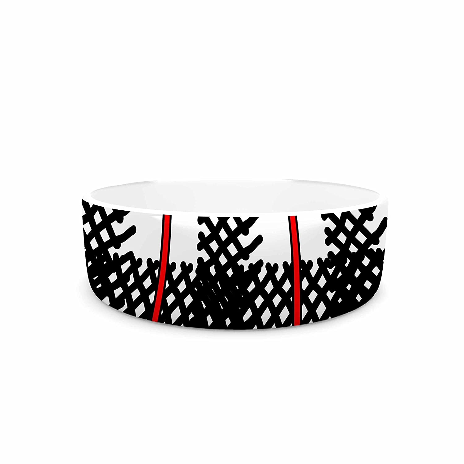 KESS InHouse Trebam Kariran  Red Black Pet Bowl, 4.75