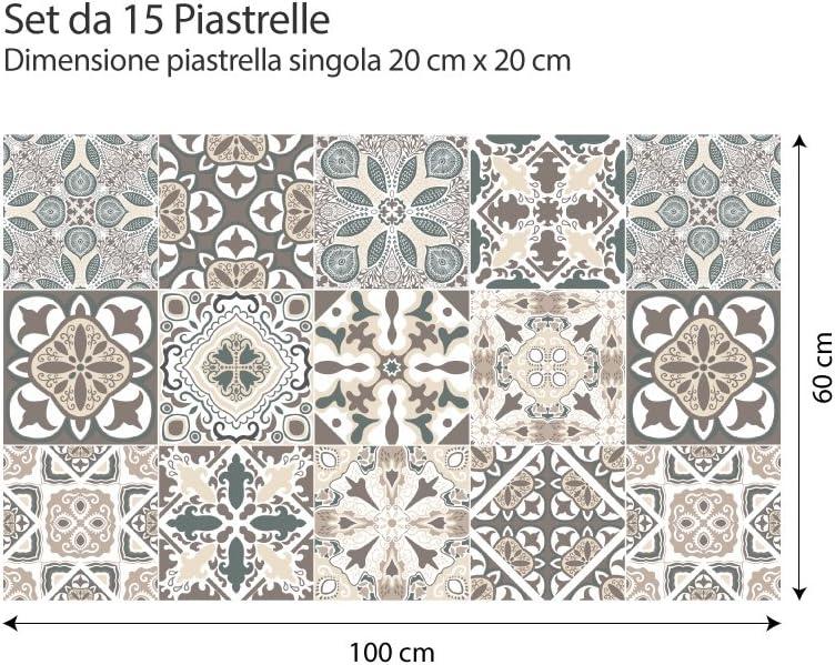 art mural Paquet de 24 pi/èces de carreaux autocollants Taille 15x15 cm - Fabriqu/é en Italie - PS00025 PVC autocollants pour salle de bain et cuisine carreaux Design autocollants - Horta