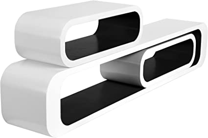 WOLTU RG9230sz estante de pared cubo salón conjunto de 3 sistemas de estanterías de estantería, estantería colgante retro, 95/40/40 cm, blanco-negro