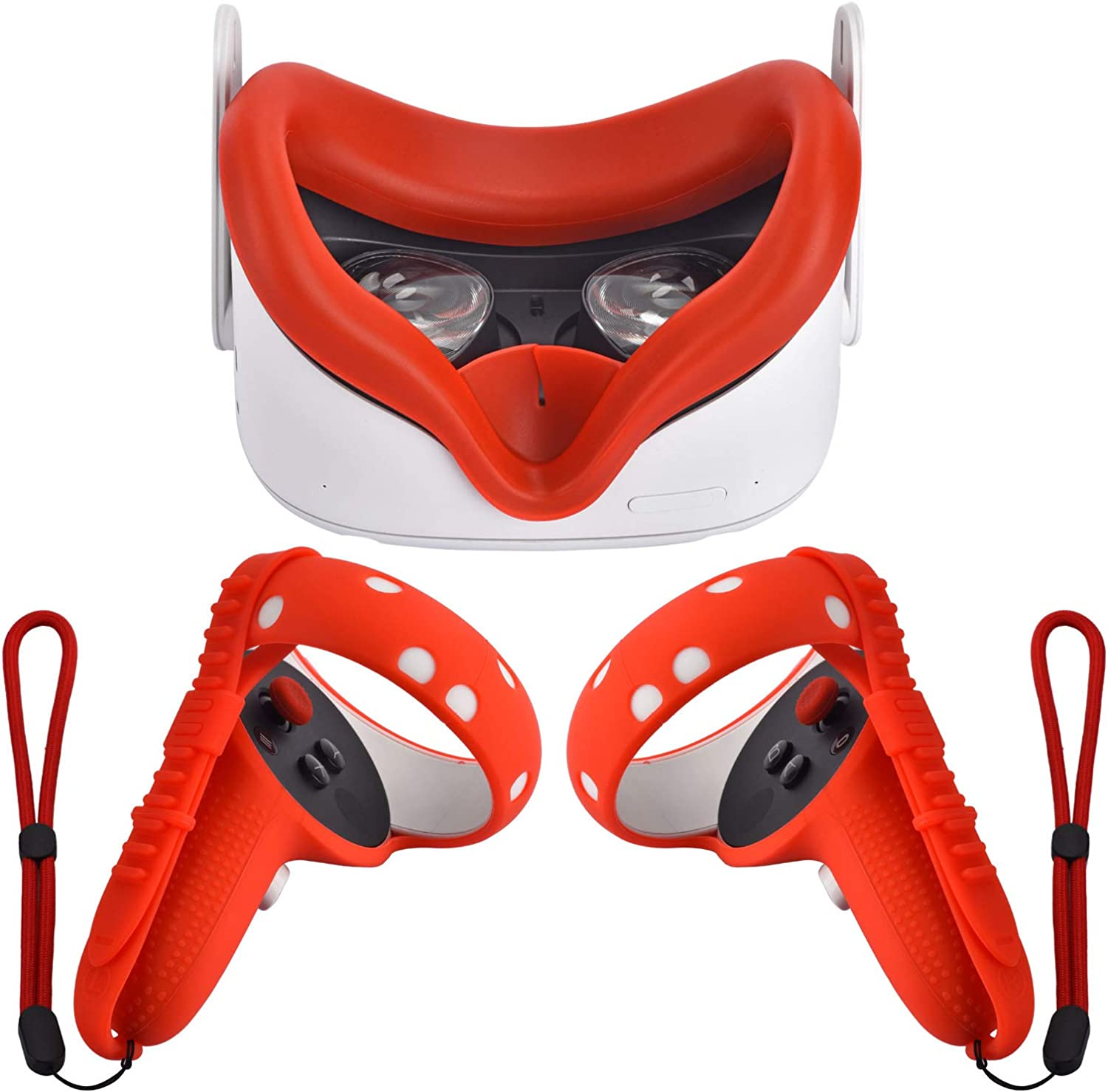 XIAOGE Silicone Controller Grip Cover for Oculus Quest 2 with Face Cover Combo, VR Headset Accessories Sweatproof Anti Collision (Red)