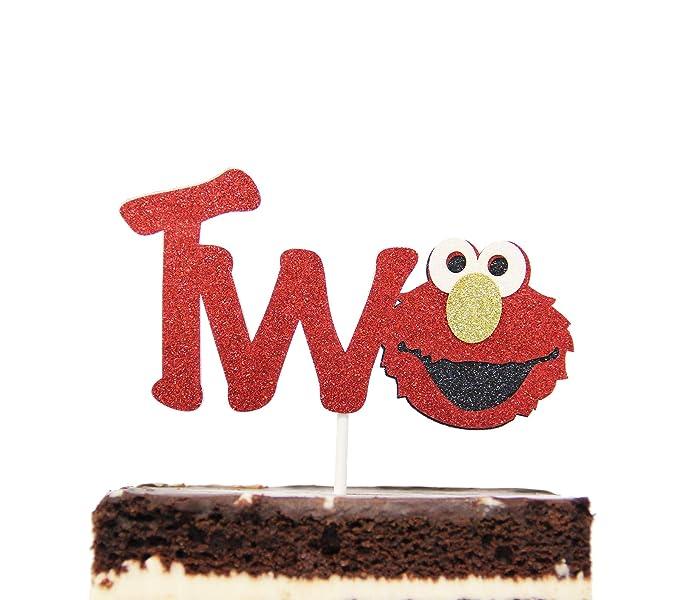 Decoración para tartas de dos cumpleaños, inspirada en Elmo ...