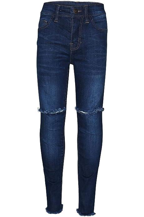 Kids Girls Skinny Light Blue Jeans Denim Ripped Stretchy Pants Jeggings 3-13 Yrs