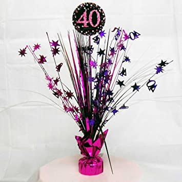 40th Birthday Spray Centrepiece Table Decoration Black Pink Purple