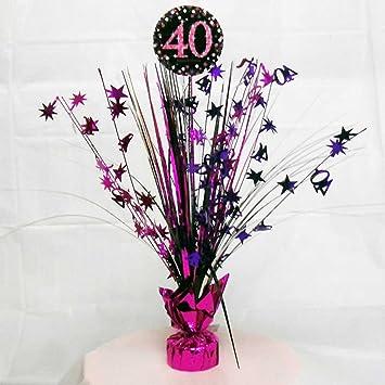 40th Birthday Spray Centrepiece Table Decoration Black Pink Purple Amazoncouk Toys Games