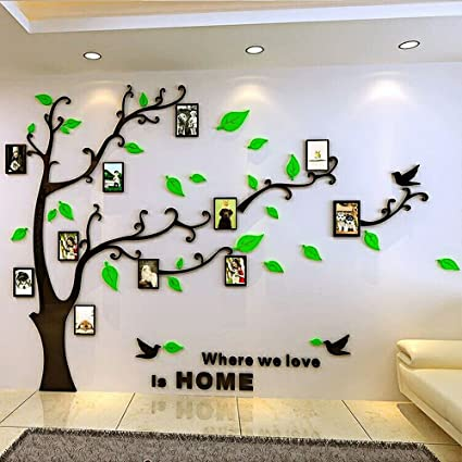 5294b0fa77 Image Unavailable. Image not available for. Color: DIY Large Family Photo  Frame Tree Crystal 3D Acrylic Decorative Art Wall Sticker ...