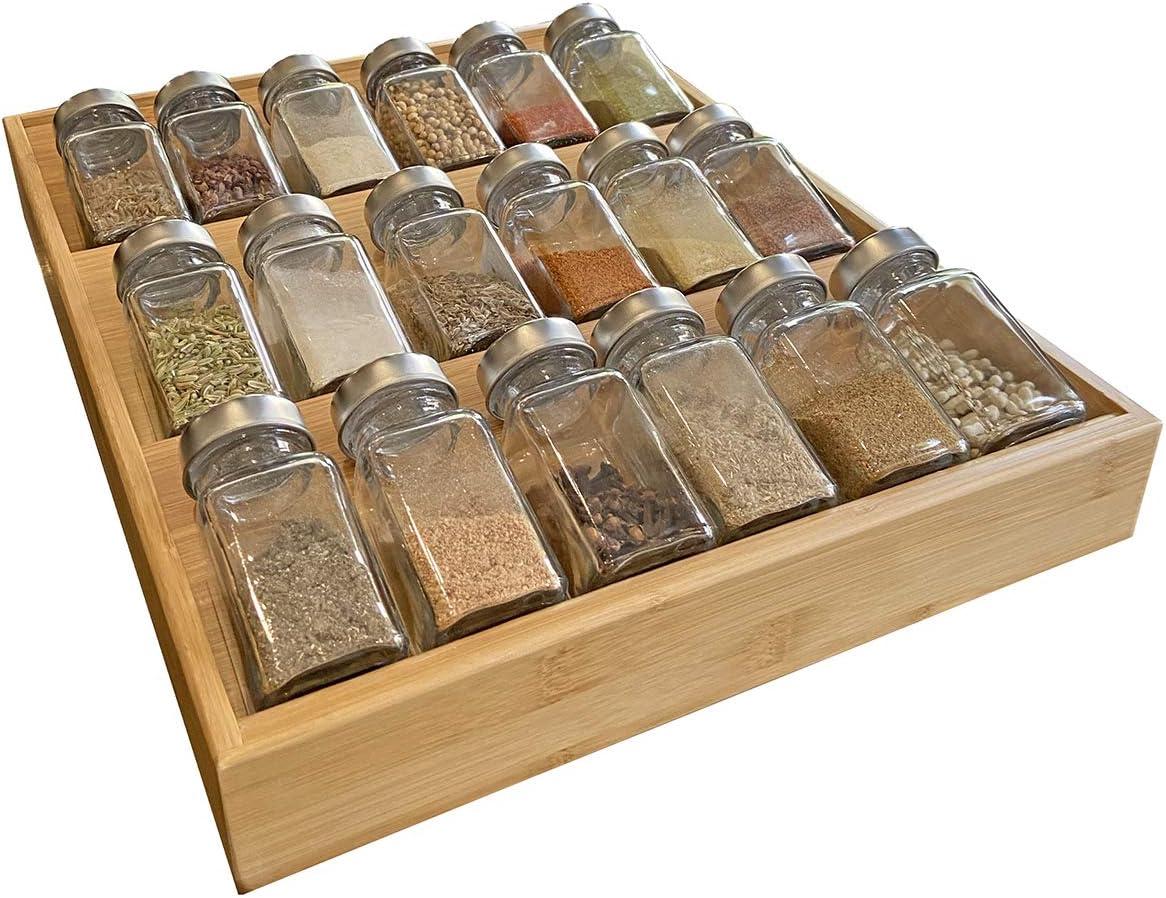Spice Drawer Organizer Storage Rack Jars Holder Insert Vintage Kitchen Tray