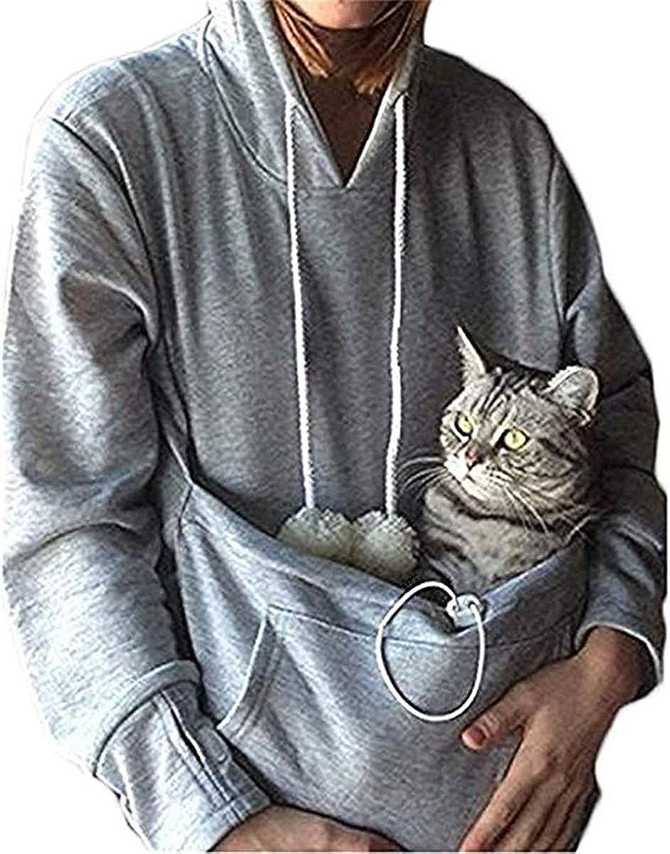 Donna Felpa con Tasca Canguro Animale Domestico Cane Gatto Marsupio Tasca Grande Felpa con Cappuccio Cappotto
