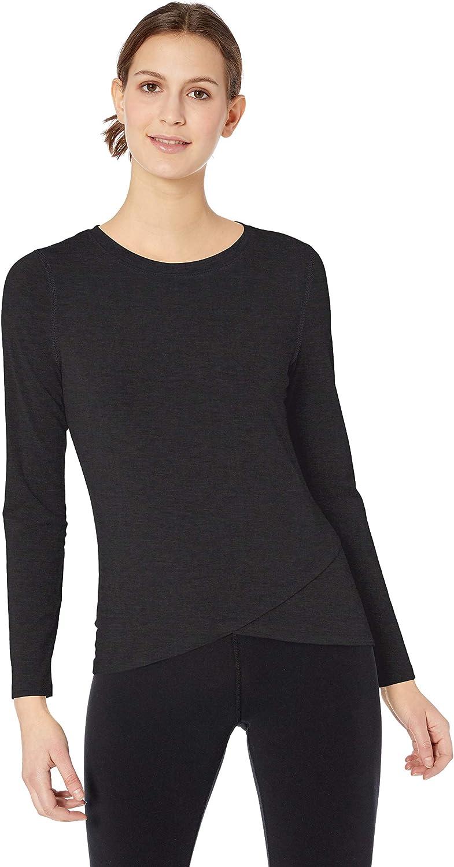 Essentials Womens Studio Long-Sleeve Cross-Front T-Shirt