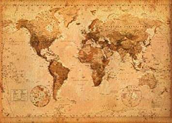World Map- Antique Giant Poster 55 x 39in