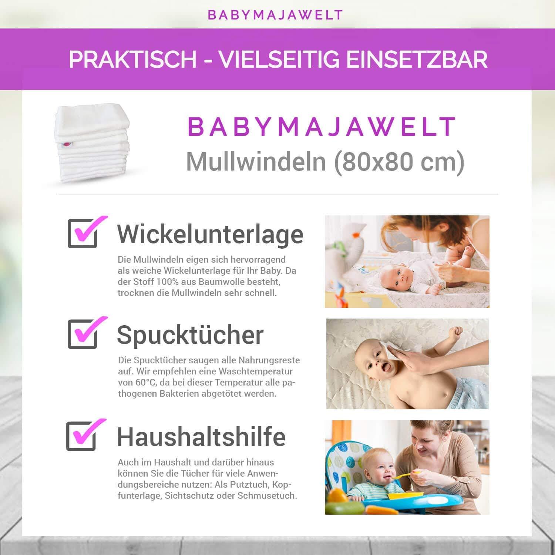 Babymajawelt Mullt/ücher Sets 70x80 cm Spuckt/ücher Schnuffeltuch 10er Set M/ädchen