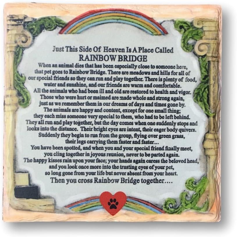 BANBERRY DESIGNS Pet Memorial Plaque - The Rainbow Bridge Story - Desktop Keepsake Plaque for The Loss of a Dog or Cat