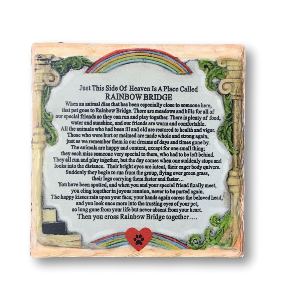 Pet Memorial Plaque - The Rainbow Bridge Story - Desktop Keepsake Plaque for the Loss of a Dog or Cat