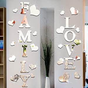 Family Sign Letters Rustic Farmhouse Wall Decor Acrylic Mirror Wall Stickers Love Letters and Hearts Shaped 3D Mirror Wall Decals Removable Acrylic Mirror Wall Decal for Living Room Bedroom
