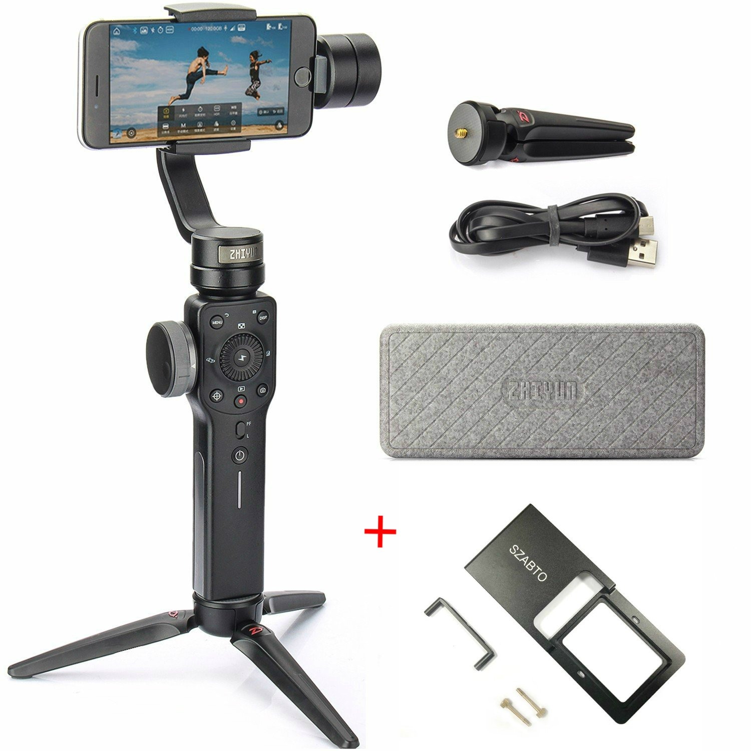 Zhiyun Smooth 4 3 Axis Handheld Gimbal Stabilizer for Smartphone Like iPhone X 8 7 6 Plus Samsung Galaxy S9 S8, GoPro Hero 6 5, SJCAM Xiaomi, 12H Runtime(Smooth Q Upgrade Version + Action Camera Mount)