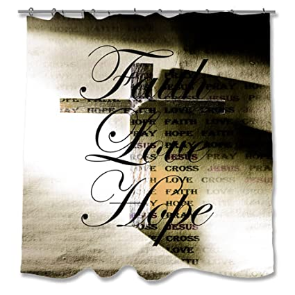 Pixsona Faith Love Hope Cross Shower Curtain 71quot