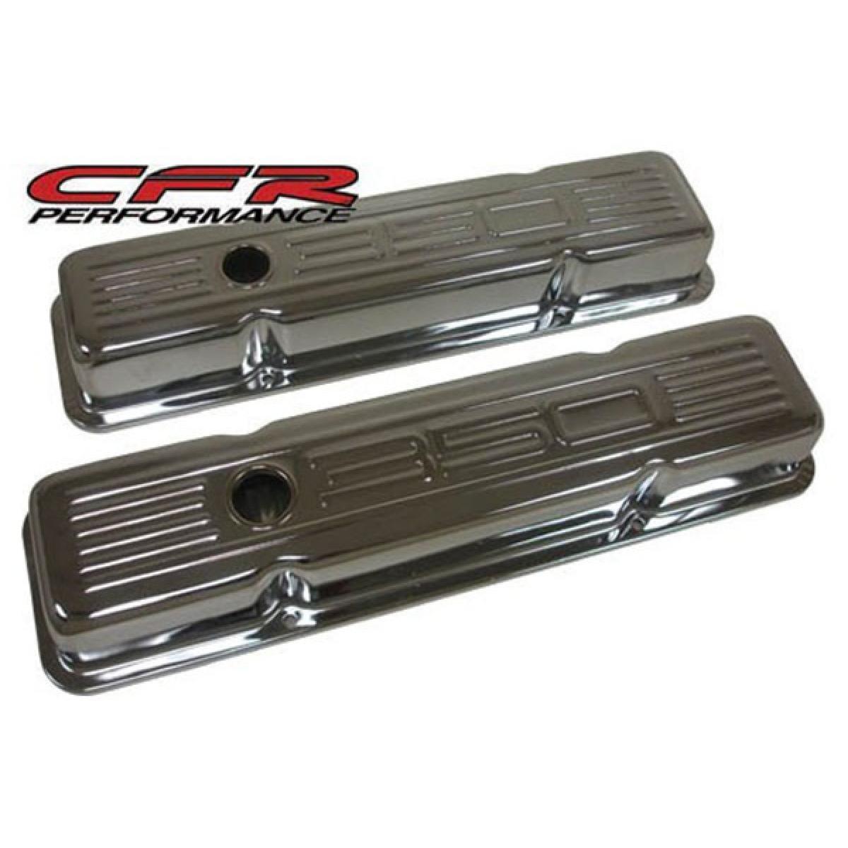 1958-86 Chevy Small Block 350 Short Steel Valve Covers - Chrome w/ 350 Logo CFR Performance HZ-9842