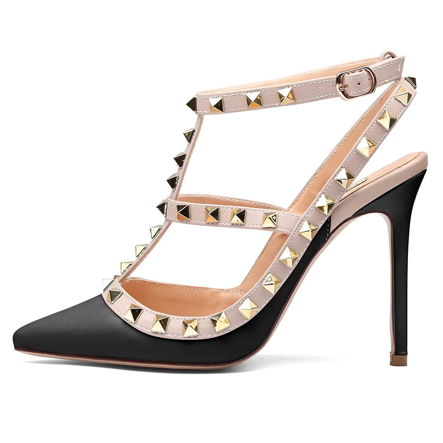 TZAMCW Womens Studded High Heels 4 Inch Stiletto Heel Gold Stud Heeled Sandals Pointed Toe Strappy Buckle Studs Leather Dress Pumps Size 5-14 US
