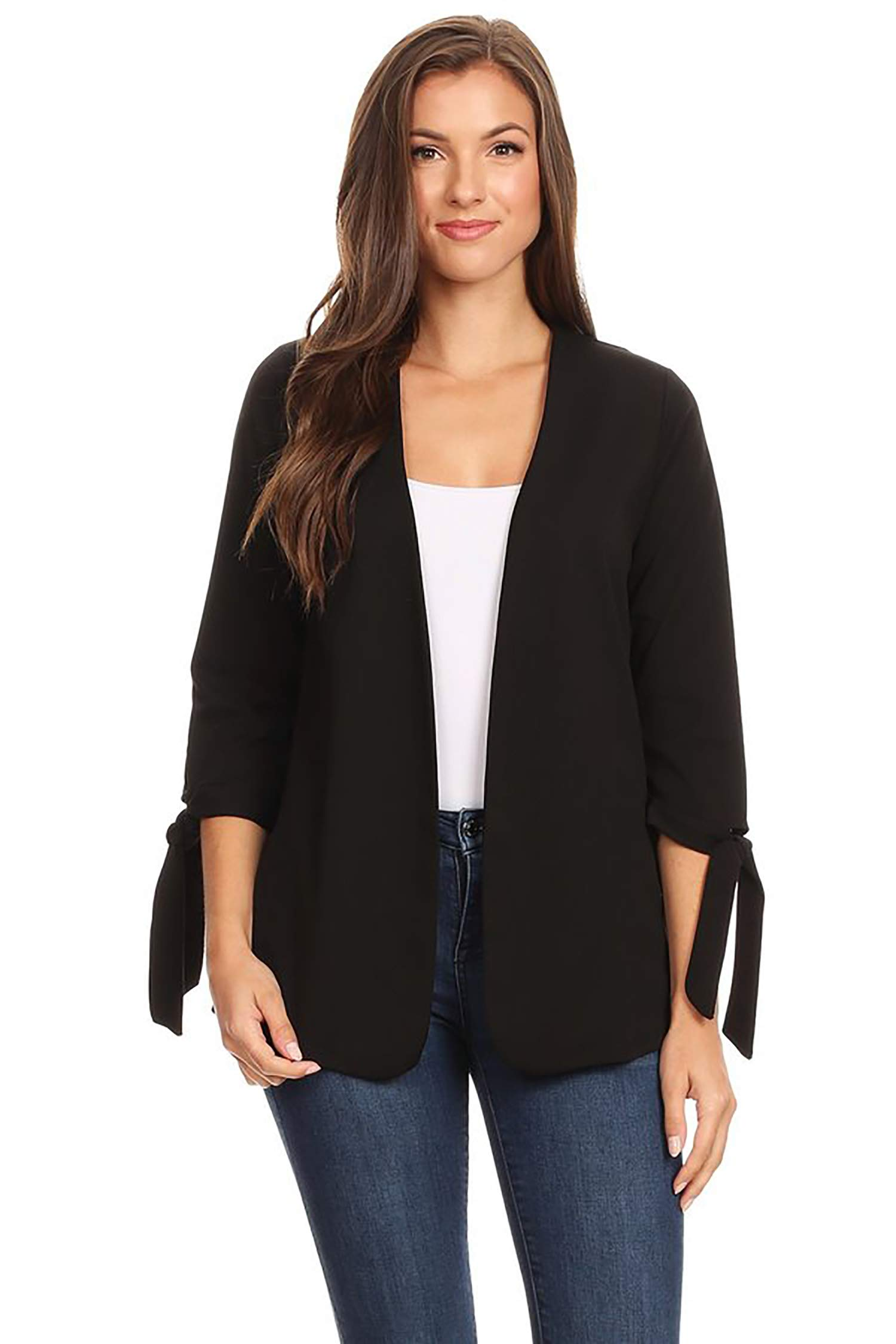 Solid Casual Collarless Loose Fit Open Front Cardigan/Made in USA Black M