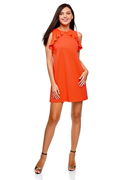 oodji Ultra Mujer Vestido Recto con Volantes, Naranja, ES 36 / XS