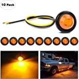 "Nilight TL-03 10 PCS 3/4"" Round Clearance LED Front Rear Side Indicator Bullet Marker Light for Truck RV Car Bus Trailer Van Caravan Boat (12V, Amber), 2 Years Warranty"