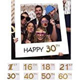 Sue Supply Happy 1th 16th 18th 21th 30th 40th 50th 60th DIY Paper Picture Frame Cutouts Photo Booth Props for Birthday Party Decoration(50th)