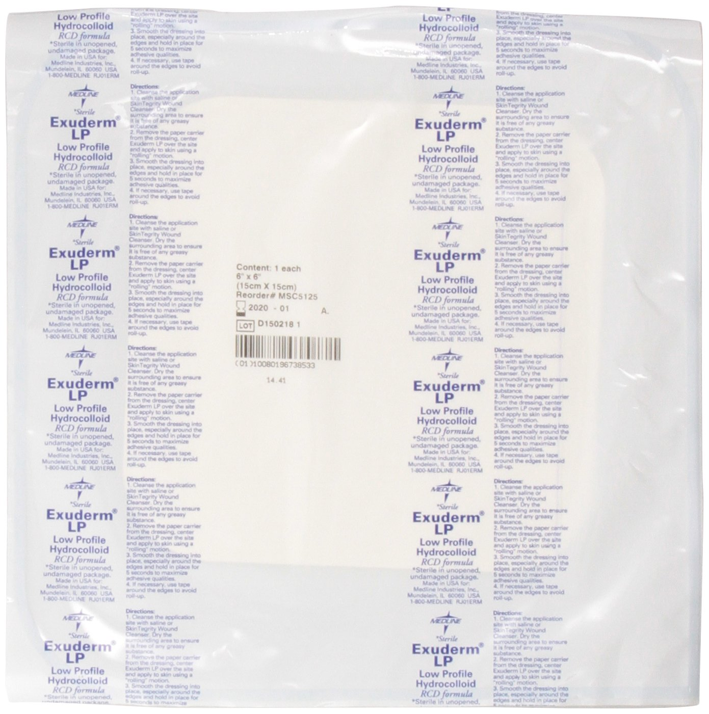 Medline MSC5125 Exuderm Thin Hydrocolloid, 6'' x 6'' (Pack of 5)