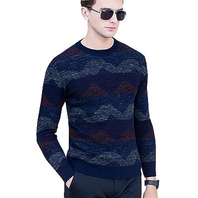 UNbox Men's Cashmere Wool Blend Cuffs Rib Weave Ruffle Long-Sleeve Sweater