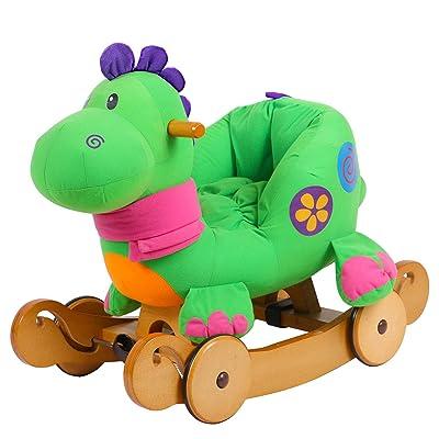 2 en 1 niño Mecedora Caballo de Juguete Animal de Peluche - Dinosaurio Verde, Mecedora Juguete, Rocker con Rueda para: Juguetes y juegos