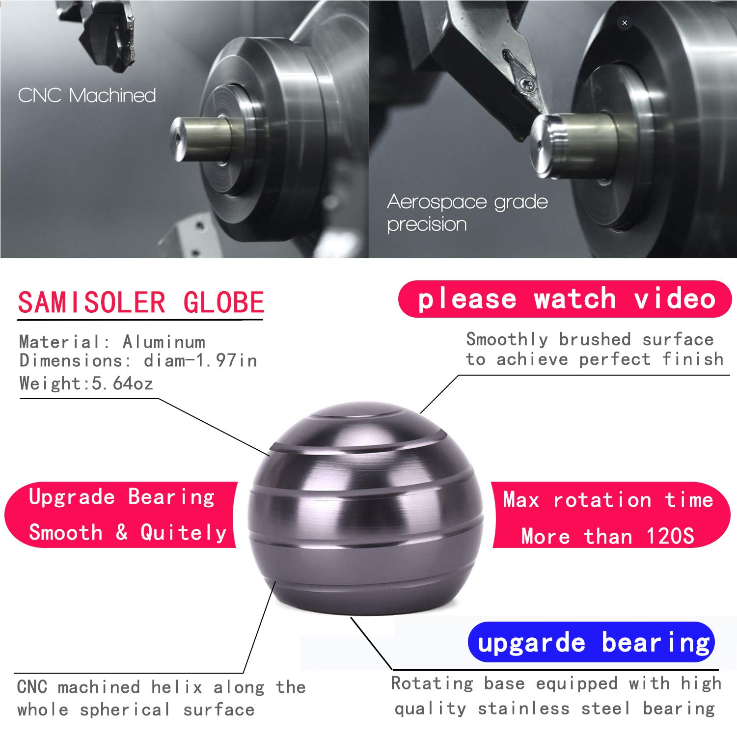 samisoler Kinetic Desk Toy for Adults Office Stress Relief with Full Body Optical Illusion Metal Ball by samisoler (Image #2)