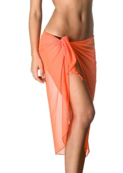 c767753aa2 THE MESH KING COQUETA Swimwear Mesh Cover up Beach Long Sarong Pareo Canga  Swimsuit Wrap Coral at Amazon Women s Clothing store  Fashion Swimwear  Cover Ups