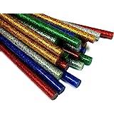 GLUN 7MM Thin (Random) Glitter Coloured HOT MELT Glue Sticks for DIY Craft and Decoration (12 Sticks)