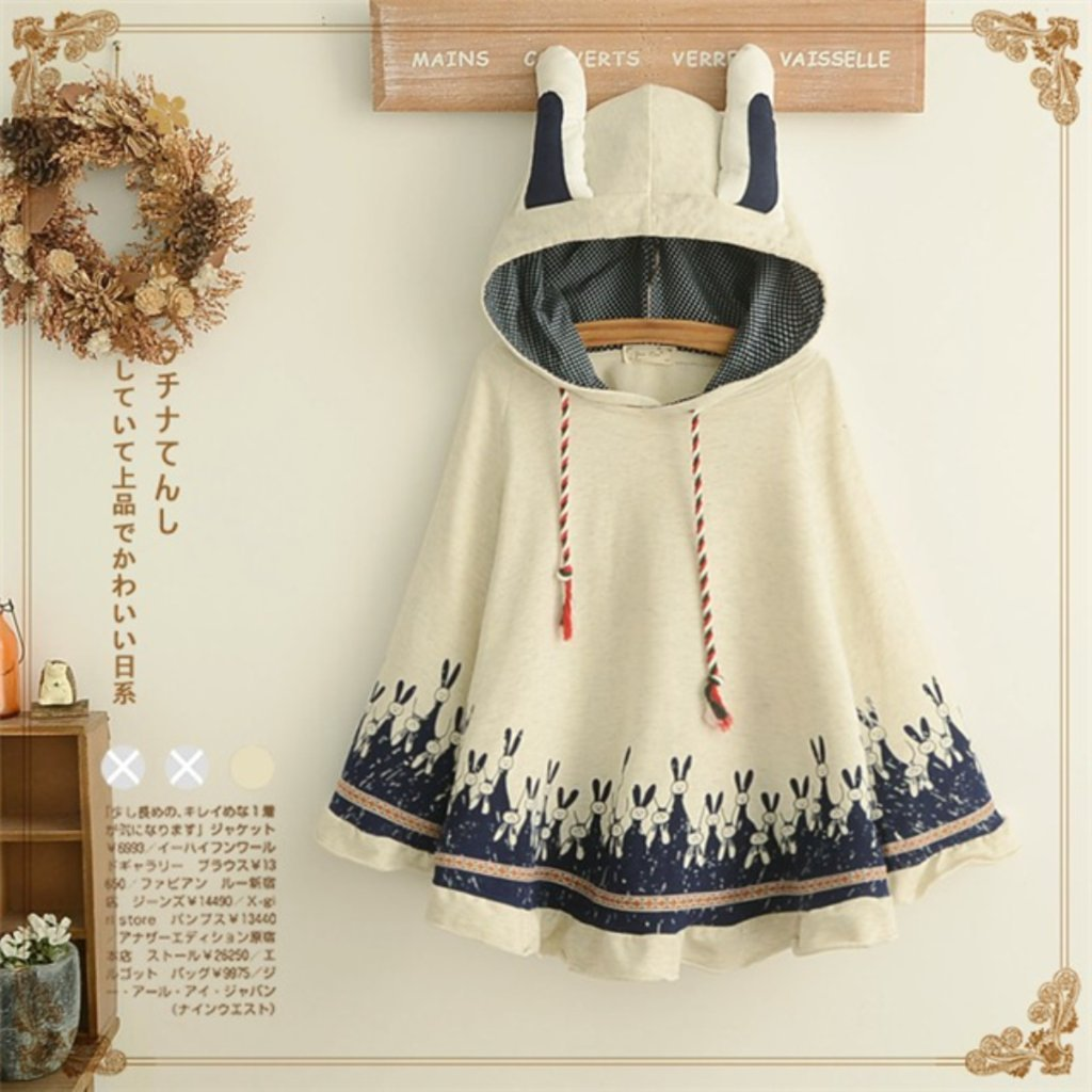 a62419fa5c7d Aza Boutique Women s Cute Cotton Blend Rabbit Ears Hooded Cape ...