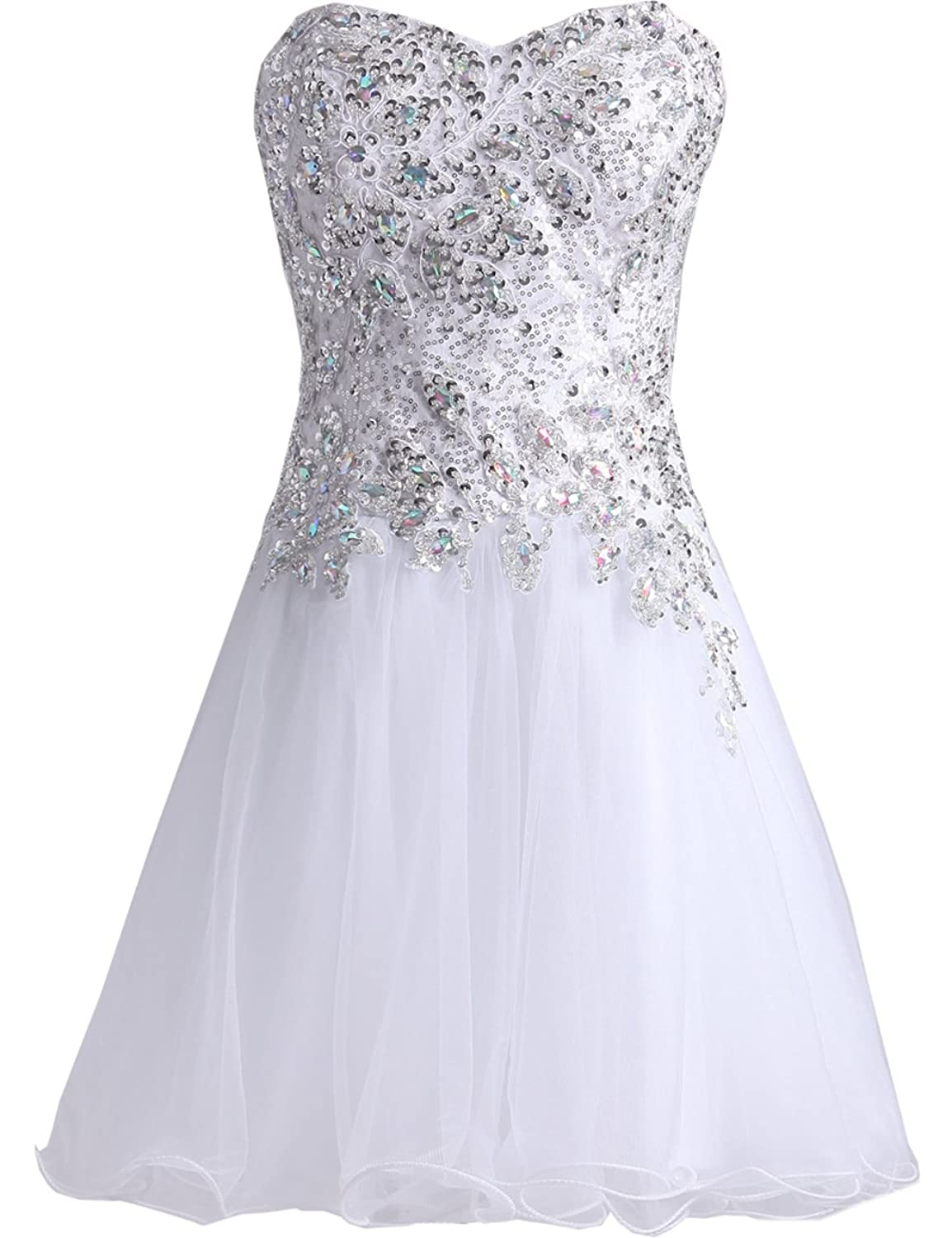 XFCastle Sequins White Short Homecoming Dresses