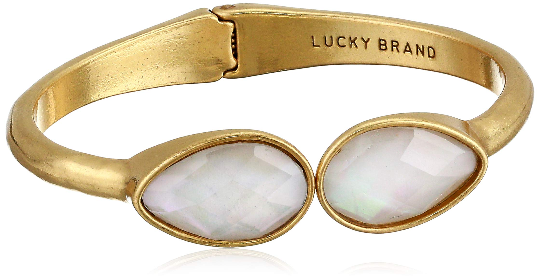 Lucky Brand Women's Double Stone Cuff Bracelet, Gold, One Size