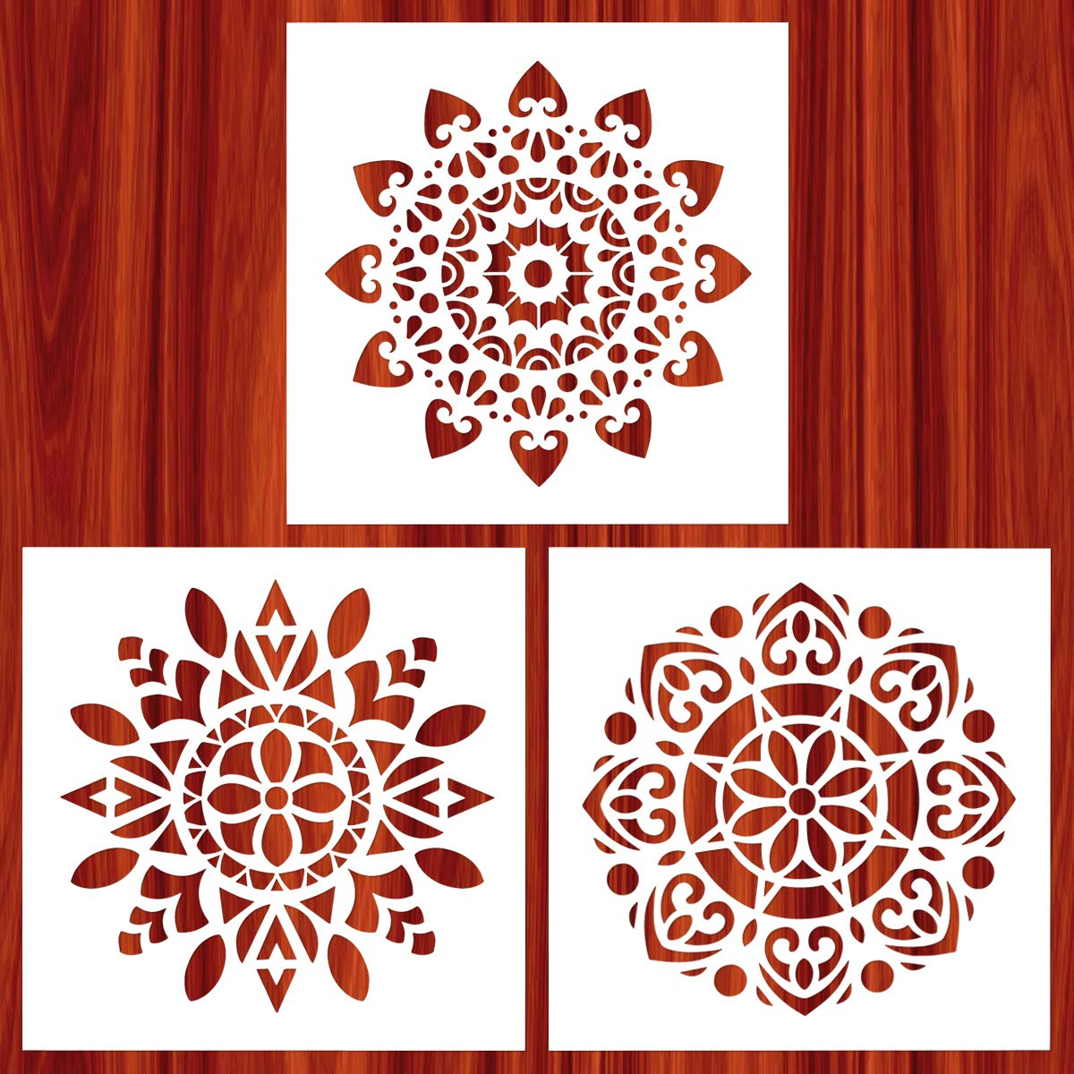 AK KYC Stencils Mandala Painting Stencil Stencils for Painting (12x12 inch Large Size) on Wood Wall Floor Tile Fabric Furniture Decor Mandala Dotting Tools Reusable, Style 1 by AK KYC