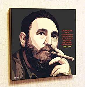 Fidel Castro #2 Decor Motivational Quotes Wall Decals Pop Art Gifts Portrait Framed Famous Paintings on Acrylic Canvas Poster Prints Artwork Geek (10x10 (25.4cm x 25.4cm))