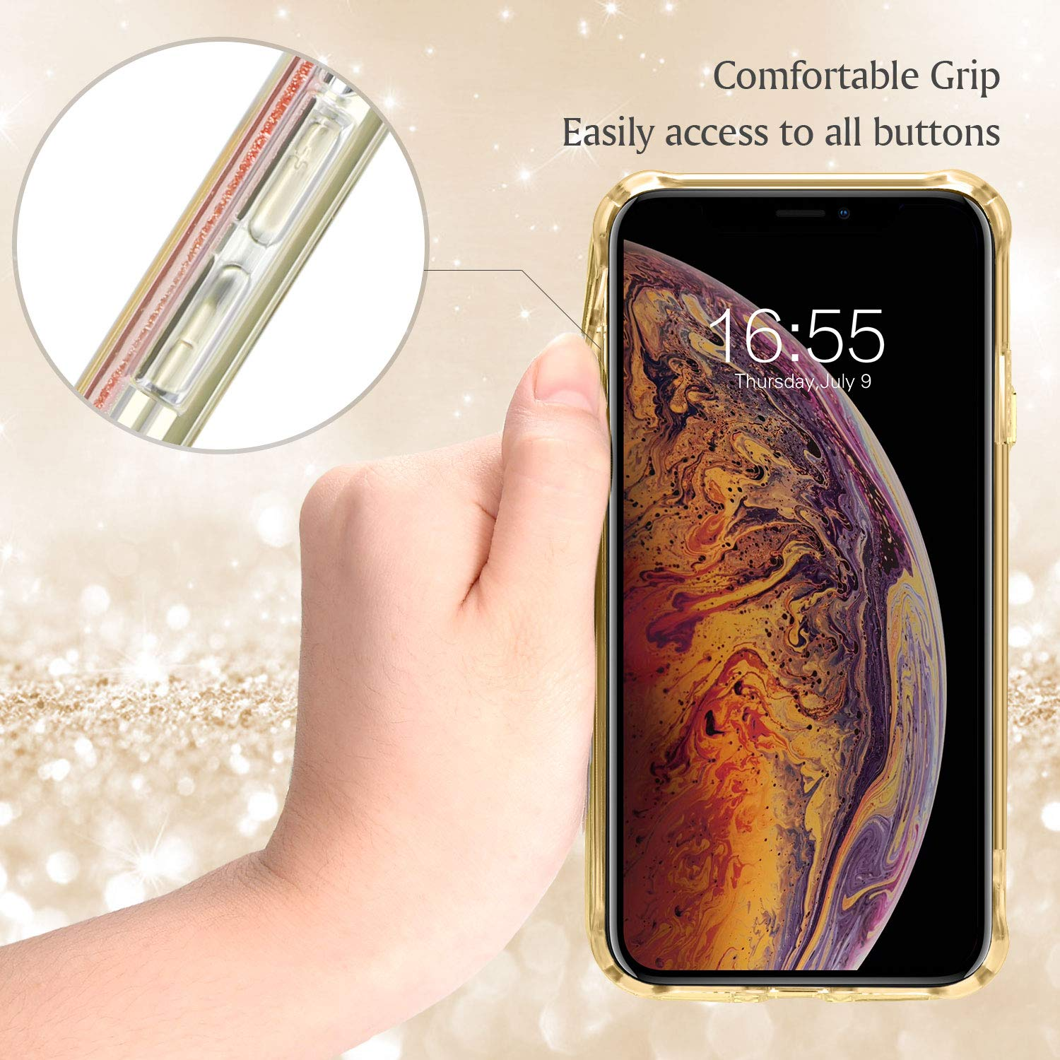 9e259b4a21 Amazon.com: DAUPIN Compatible iPhone Xs iPhone X Case for Women Girl Phone  Cover Bling Glitter Protective Defender Shockproof Hard Back Cases for Apple  ...
