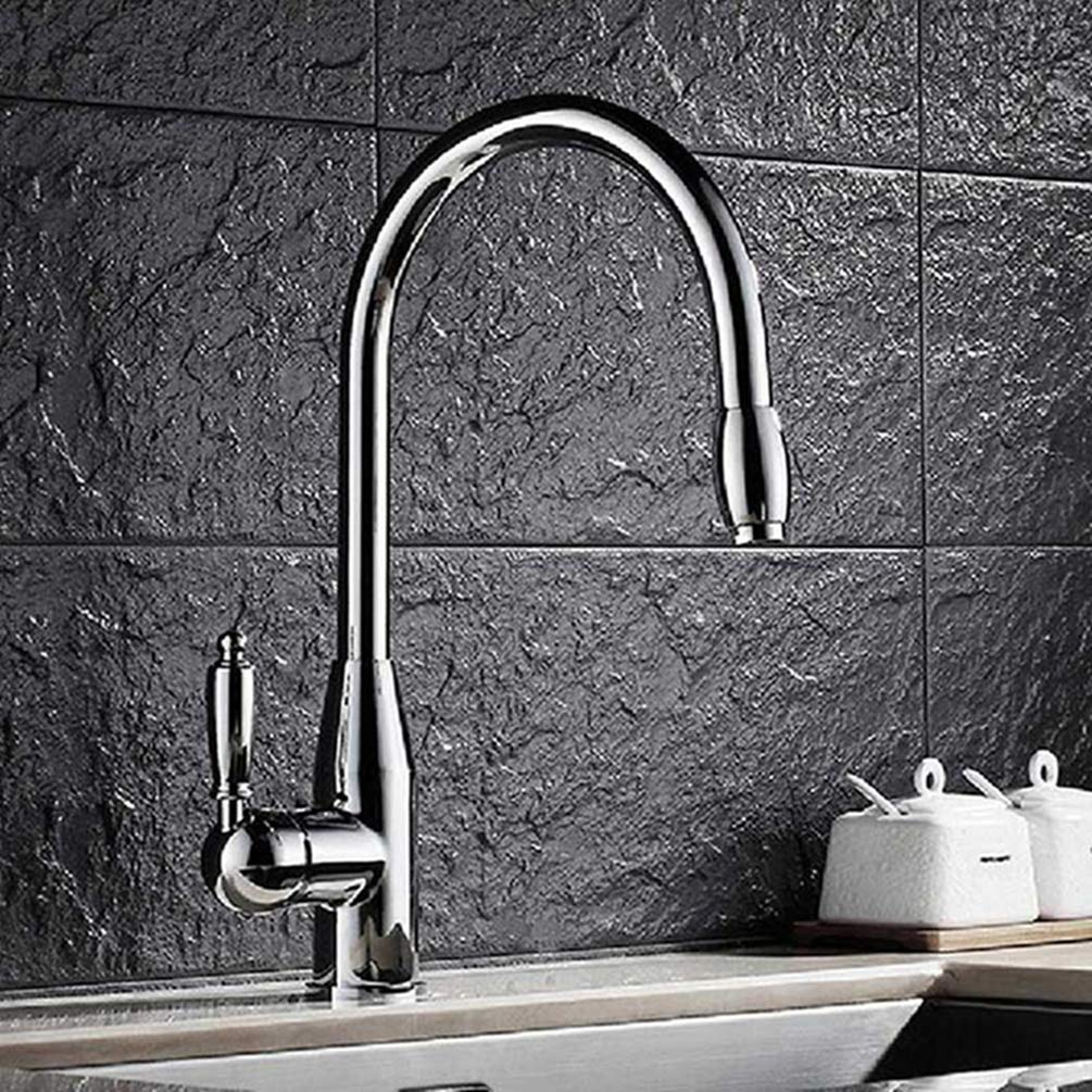 Chrome FZHLR Kitchen Faucets Single Handle Pull Out Kitchen Tap Single Hole 360 Degree Swivel Mixer Tap Cold Hot Water Tap Retro Style,Antique Brass