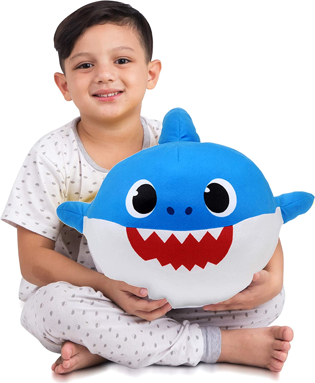 Franco Kids Bedding Super Soft Plush Snuggle Cuddle Pillow, One Size, Daddy Shark Blue