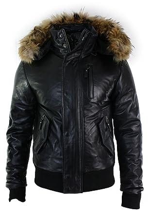914637e08fbd Amazon.com  Aviatrix Mens Real Fur Hood Bomber Leather Jacket Black Puffer  Padded black s  Clothing