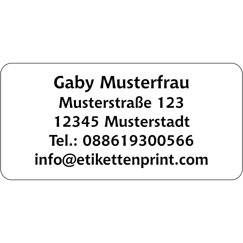 Hochglanzpapier selbstklebend 1-5 Zeilen beschriftbar mit Wunschtext 350 St/ück 54x25 mm Adressaufkleber Adress Etiketten