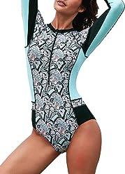 31fc72988c8d8 ROSKIKI Womens Long Sleeve Zipper One Piece Rashguard Swimsuits Patchwork  Fashion Print Tummy Control Swimwear Bathing