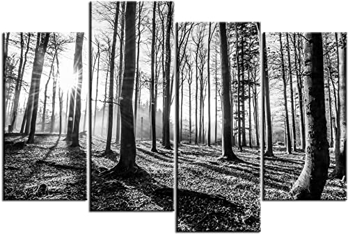sechars Extra Large Wall Pictures Black and White Forest Canvas Wall Art 4 Piece Forest Sunset Canvas Print