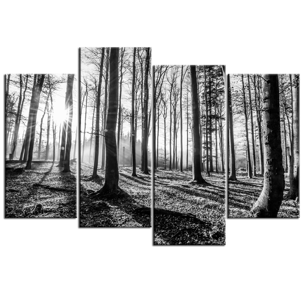 sechars - Extra Large Wall Pictures Black and White Forest Canvas Wall Art 4 Piece Forest Sunset Canvas Prints for Home Wall Decor Framed Tree Woods Artwork Living Room Office Hotel Decoration