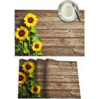 Mount Hour Autumn Sunflowers Floral on Wooden Board Placemats Set of 4 Heat-Resistant Washable Table Non-Slip Place Mat…