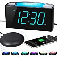 ROCAM Vibrating Loud Alarm Clock with Bed Shaker, Best Sounds, Large LED Display with Dimmer, 7 Colored Night Light…